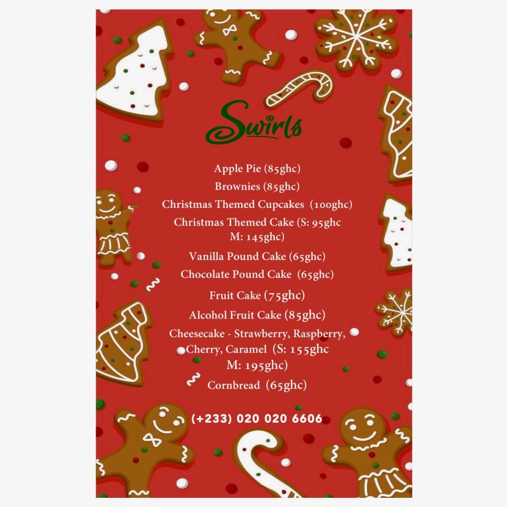 Swirls Christmas Menu