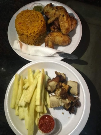Jollof and chicken + Yam and pork