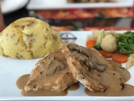 Mashed potatoes + boneless grilled chicken ~ Mokas resto