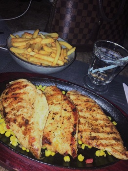 Grilled chicken breast + fries ~ Coco Lounge